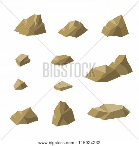 Stones beige small rocks set isolated illustration vector