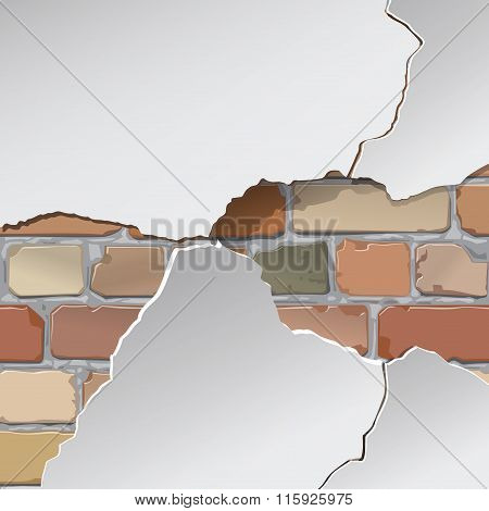 Plaster, paint, repair. Brick wall. Background, texture. Vector