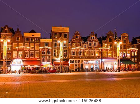 Medieval houses in Amsterdam Netherlands at night