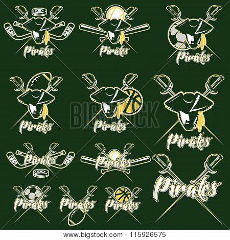 Pirates Sport Teams Labels Set
