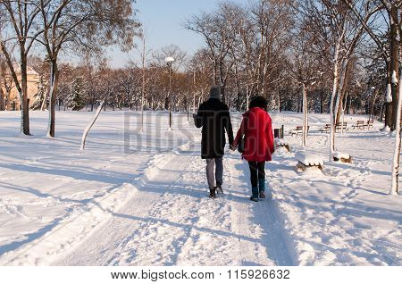 Couple Holding Each Other's Hands Going Through The Park In The Winter