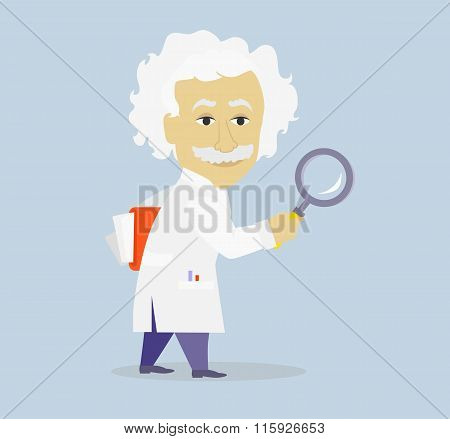 Funny Albert Einstein Cartoon Portrait