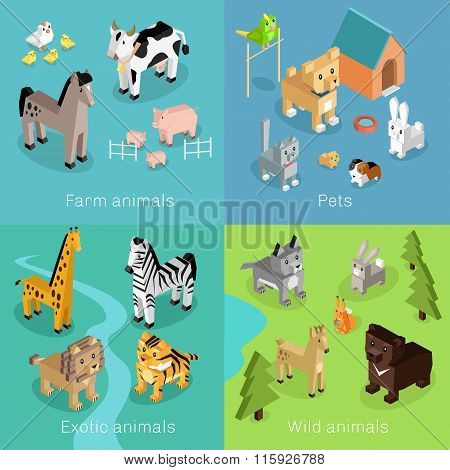 Wild Exotic and Farm Animal Set Isometric