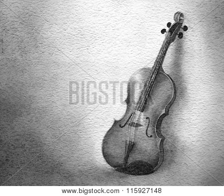 Grey violin watercolor