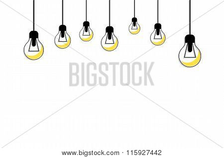 Glowing Yellow Light Bulb. Idea Concept