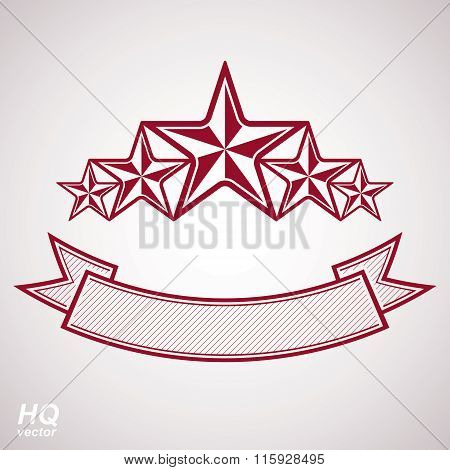 Vector monarch symbol. Festive graphic emblem with five pentagonal stars and curvy ribbon, template.