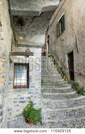 Street in Varenna resort, Como Lake, Italy, Europe