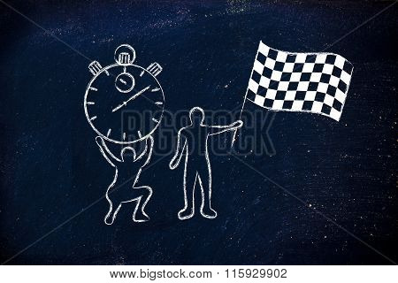 Men With Oversized Stopwatch And Chekered Flag