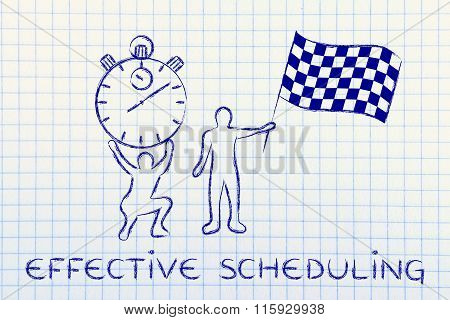 Men With Oversized Stopwatch & Chekered Flag, With Text Effective Scheduling