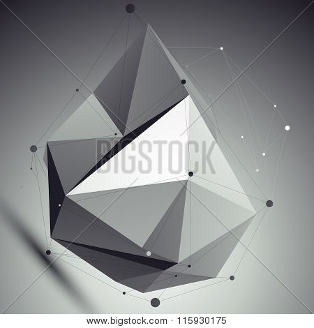 Asymmetric 3D Abstract Object With Lines And Dots Placed Over Dark Background. Contrast Futuristic B