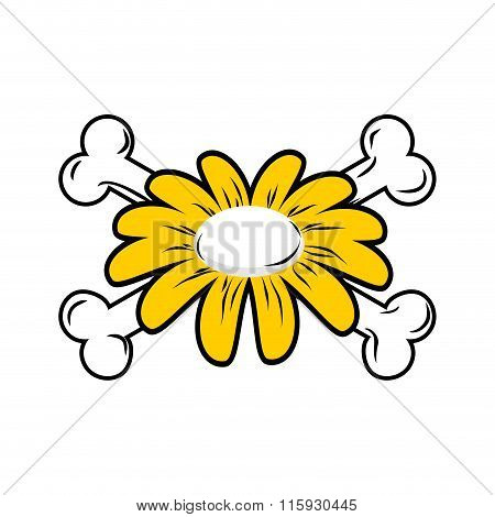 Flower And Bones. Daisy And Crossbones. Symbol Flower Of Death.