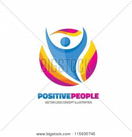 Positive people - creative logo sign for sport club, health center, music festival etc.