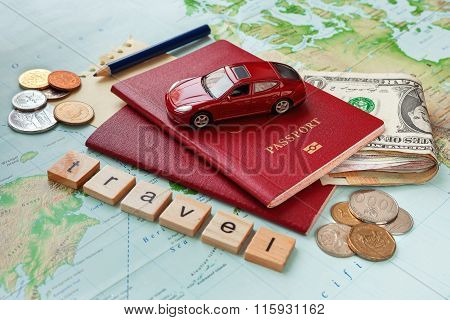Travel Background With Passport, Money, Map And Notes. Word Travel And Symbol Of Car Travel