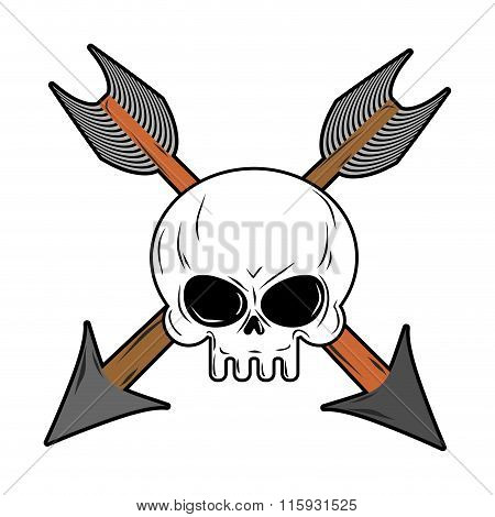 Skull And Arrow From Bow. Symbol Death Of Head Skeleton