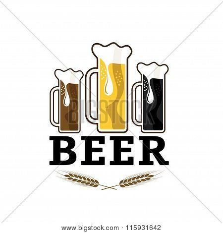 Illustration Of Glasses With Beer