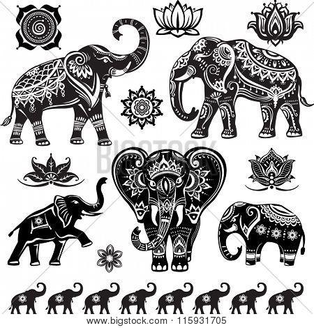 Set of decorated elephants