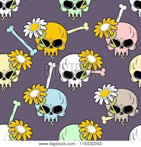 Skulls And Flowers Seamless Pattern. Cute Backgrounds For Halloween.