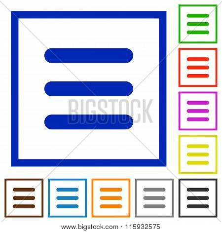 Menu Framed Flat Icons