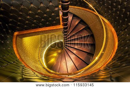 Luxury wooden spiral staircase shot from above