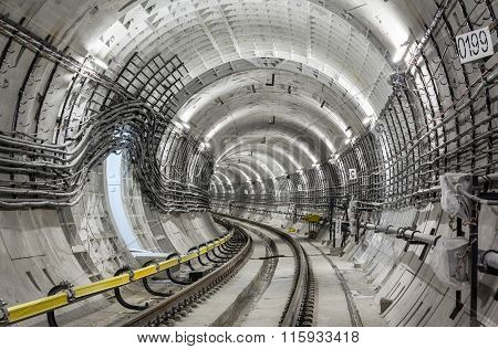 View of an empty subway tunnel under the ground