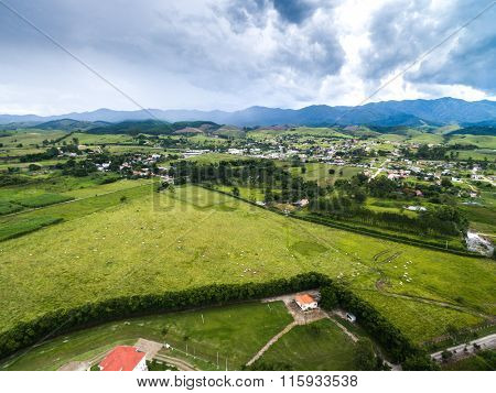 Aerial view of a huge farm in Goias, Brazil