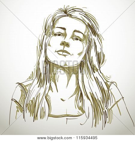 Portrait Of Sexy Good-looking Woman, Black And White Vector Drawing. Emotional Expressions Idea Imag