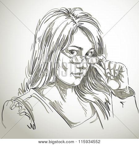 Graphic Vector Hand-drawn Illustration Of White Skin Attractive Lady With Stylish Haircut And Eyegla