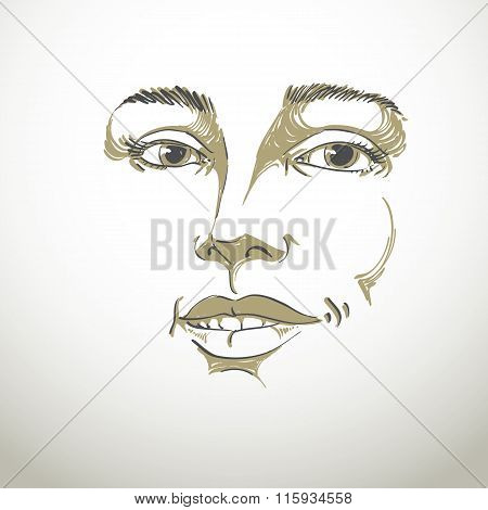Hand-drawn Portrait Of White-skin Flirting Woman, Face Emotions Theme Illustration. Beautiful Sexy L