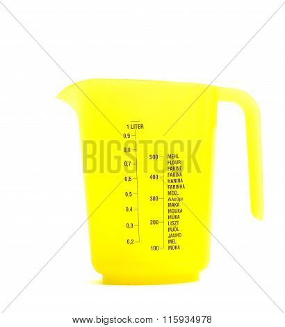 Yellow Plastic Measure Cup Isolated On White Background