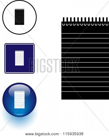 notepad symbol sign and button