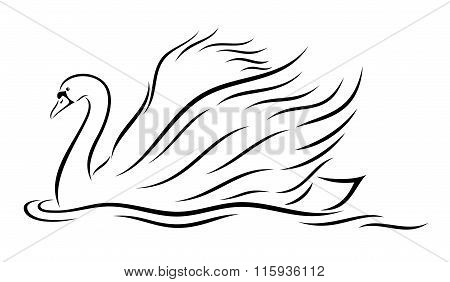Vector illustration of abstract, stylized swan on white background.