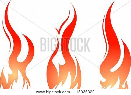 Set Of 3 Vector Colorful Fires Isolated On A White.