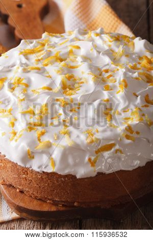 Tres Leches Cake Covered With White Icing Closeup
