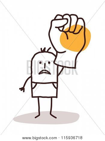 cartoon man saying NO with raised fist
