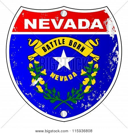 Nevada Flag Icons As Interstate Sign