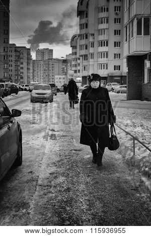 Woman Walking On Path In Russia