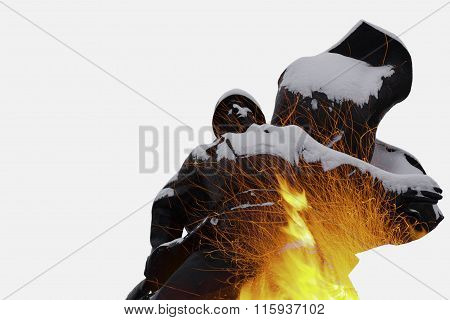 Russian Soldier Double Exposure Statue Sparks