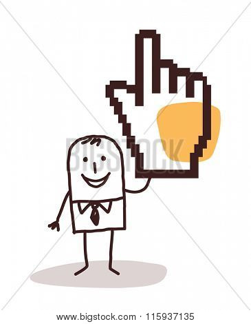 cartoon businessman with a pixelated hand