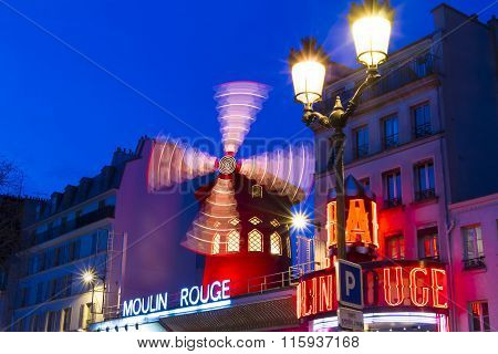 The Cabaret Moulin Rouge In Evening , Paris, France.