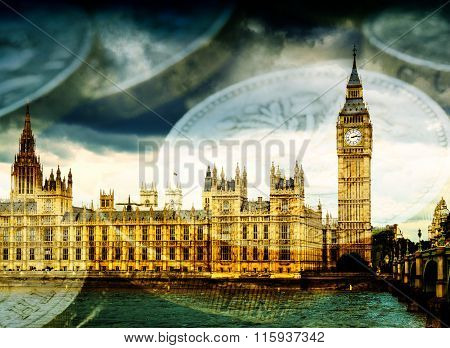 Big Ben And Houses Of Parliament With Thames