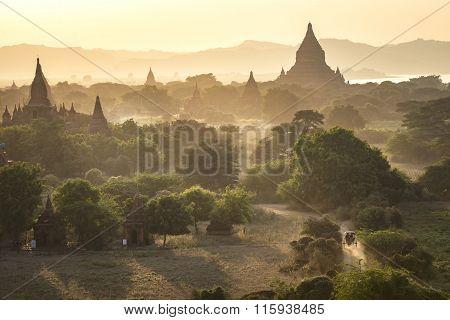 Sunset Over Pagodas Of Bagan, Myanmar