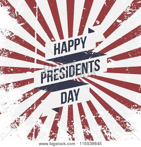 Happy Presidents Day vector Ribbon and Text
