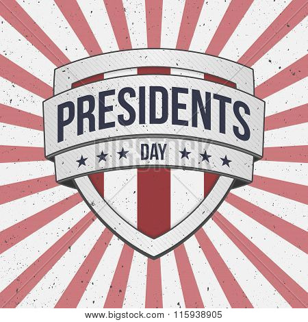 Presidents Day vector big patriotic Shield Sign