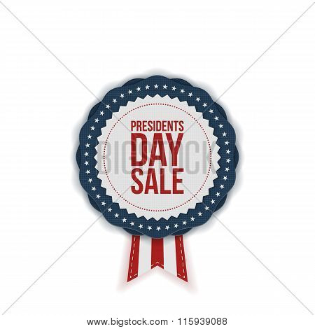 Presidents Day Sale realistic Emblem with Ribbon