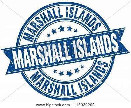 Marshall Islands blue round grunge vintage ribbon stamp