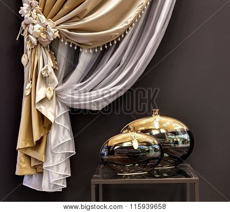 The Decorated Gold Curtain And Little Table