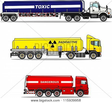 Set of cistern trucks carrying chemical, radioactive, toxic, hazardous substances isolated on white