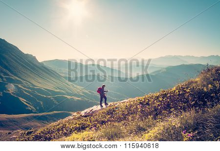 Man Traveler with backpack trekking Travel Lifestyle