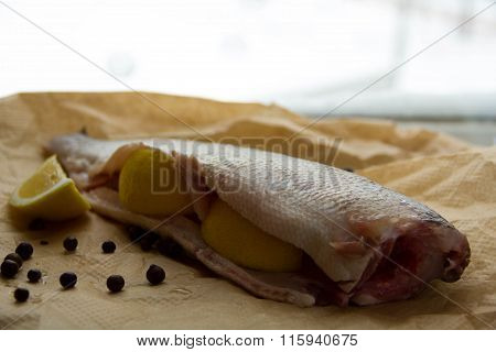 Raw Fish With Slices Of Lemon
