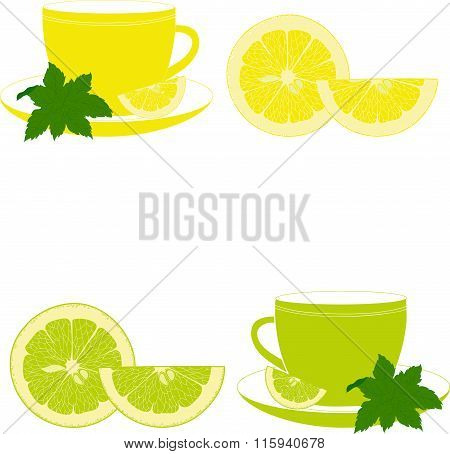 Cups with mint, lemon and lime on a transparent background